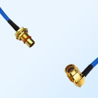 BMA Bulkhead Male - SSMA Male Right Angle Semi-Rigid Cable Assemblies