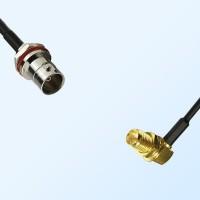 BNC Front Mount B/H Female - RP SMA Bulkhead Female R/A Cable