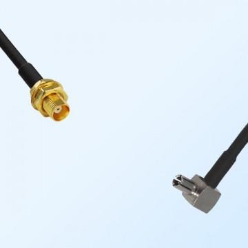 MCX/Bulkhead Female - TS9/Male Right Angle Coaxial Jumper Cable